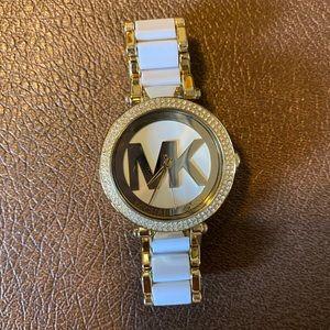 Michael Kors white & gold watch